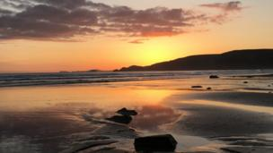 Sunset over Newgale beach