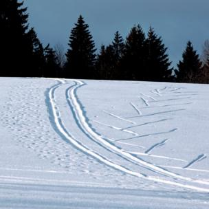 A skier leaves two different sets of tracks climbing up and skiing down a slope.