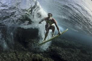 An underwater shot of pro surfer Donavon Frankenreiter