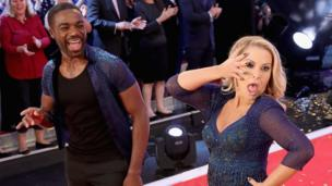 Ore Oduba and singer Anastacia on the Strictly Come Dancing red carpet