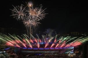 Fireworks light the sky above the Bukit Jalil National Stadium during the opening ceremony of the 29th Southeast Asian Games (SEA Games) in Kuala Lumpur on August 19, 2017.