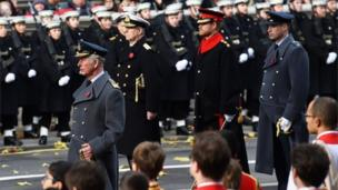 Prince Charles, Prince Andrew, Prince Harry and Prince William at the Cenotaph memorial