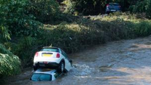 Cars in River Faughan