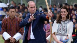 Prince William tries archery in Bhutan