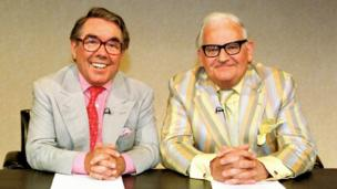 Ronnie Corbett with his comedy partner Ronnie Barker during filming of The Two Ronnies, which ran from 1971 to 1987