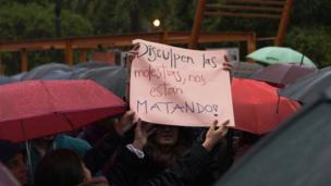 Protesta en Montevideo.