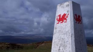 Trig point on Mynydd Troed in Black Mountains