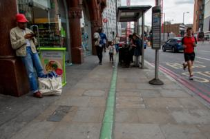 Green line on the street