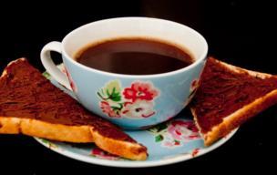 Chocolate spread on toast.