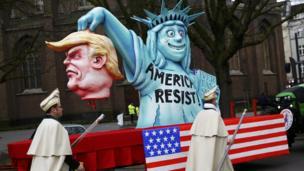 Carnival float mocking US President Donald Trump, Duesseldorf