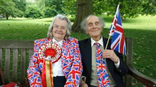 "Margaret Tiler and David Jones from Wembley, London, are getting ready for ""The Patron's Lunch"" celebrations for The Queen""s 90th birthday at The Mall"