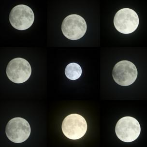 Montage of moon shots taken in Gosport, Hampshire