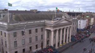 The General Post Office (GPO) in Dublin was the rebel headquarters in 1916 and the site of the commemorations on Sunday