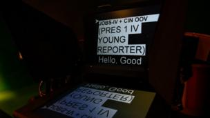 The autocue script the presenters have to follow