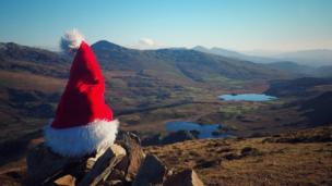 Looks like Father Christmas has dropped his hat on Snowdonia, taken by Mel Garside.