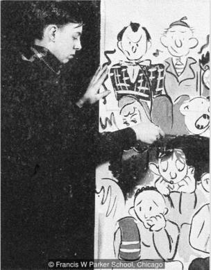 高栗高中时为一场社会活动创作壁画,图片来自帕克高中年鉴(1942年)。