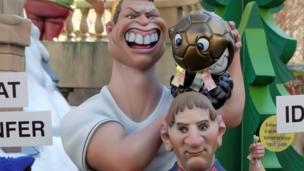 मेसी और रोनाल्डो के पुतले