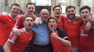 Welsh fans with the late Wales manager Gary Speed's father in Lyon