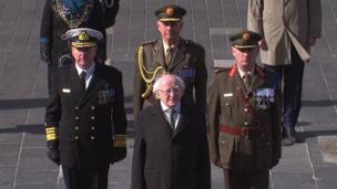 Irish President Michael D Higgins arrives at the General Post Office (GPO) which was the centre of the rebellion against British rule in Ireland 100 years ago