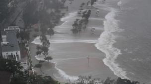 Large waves hit Repulse Bay beach during Super Typhoon Mangkhut in Hong Kong on 16 September 2018.