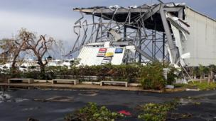 Damage caused by Hurricane Maria after it passed through San Juan, Puerto Rico.