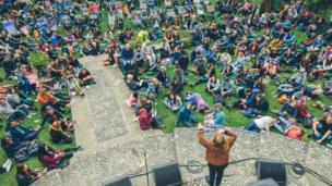 Poet Kate Tempest performs a spoken-word set in Portmeirion Village.
