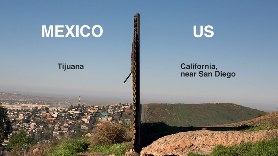 Image of tha current border barrier between tha US n' Mexico