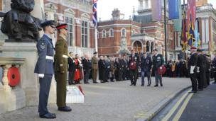 Veterans laying wreaths by the cenotaph in Croydon