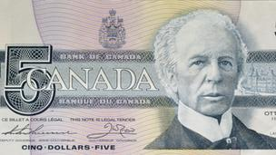 Wilfrid Laurier on a five-dollar bill, 1986