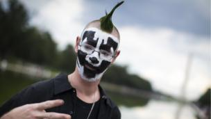 A man poses for a photo during the Juggalo March, at the Lincoln Memorial on the National Mall, September 16, 2017 in Washington, DC.