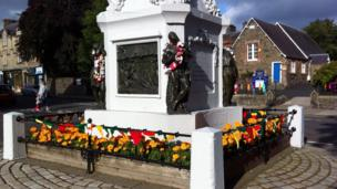 Mungo Park's statue decked in Africa flags