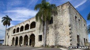 View of the facade of the Columbus Alcazar Museum in Santo Domingo