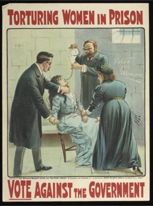 因争取女性投票权抗议示威被捕的女囚在狱中绝食,时任内政大臣格拉斯顿下令强迫灌食,举国哗然。