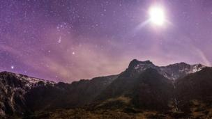 An image of the night sky at Cwm Idwal, Snowdonia.