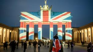 Brandenburg Gate lit in Union Jack colours