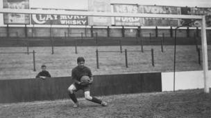 West Ham and England goalkeeper Arthur Edward Hufton at Upton Park, in August 1921