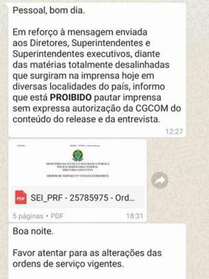 Captura de tela de conversa no Whatsapp, em que o Coordenador-Geral de Comunicação Social da PRF, Anderson Poddis, comunica alterações na relação com a imprensa