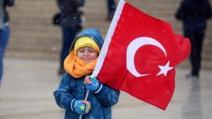 Anıtkabir'de soğuk hava nedeniyle çocuklar zor anlar yaşadı.