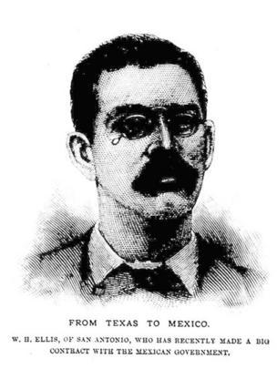 Un dibujo con un retrato de William Ellis a finales de la década de 1880.
