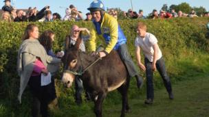 AP McCoy on donkey