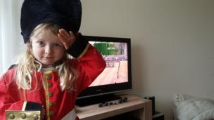 Sam and Hayley's daughter Ella watching the trooping the colour. Credit: Sam Thomas