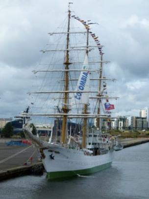 Colombian Navy training vessel the ARC Gloria at Leith docks