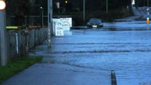 Flooding at the Lifford bridge in Strabane, County Tyrone