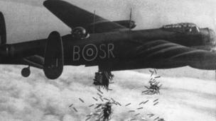 A Lancaster bomber dropping incendiaries in October 1944