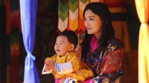 Bhutan's Queen Jetsun Pema with royal baby