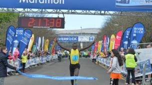Kenyan athlete Joel Kipsang Kositany earned his third Belfast Marathon victory as he won the men's race