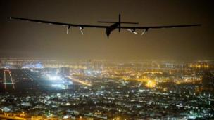 Solar Impulse 2 prepares to land at Abu Dhabi airport, UAE. Photo: 26 July 2016