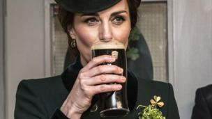 The Duchess of Cambridge got into the spirit of the day with a pint of Irish stout