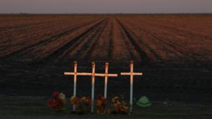 Crosses by a roadside in Texas, USA.