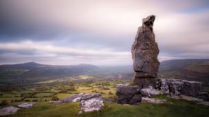 'The Lonely Shepherd' on the top of Llangattock Mountain in the Brecon Beacons by James Whelan
